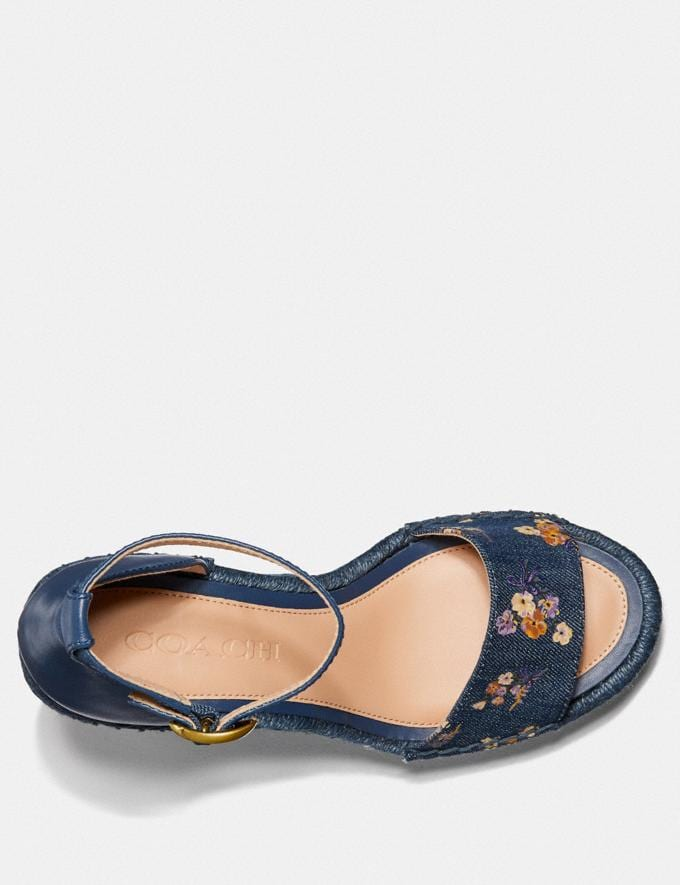 Coach Kit Wedge Espadrille With Floral Bow Print Denim/Denim  Alternate View 2