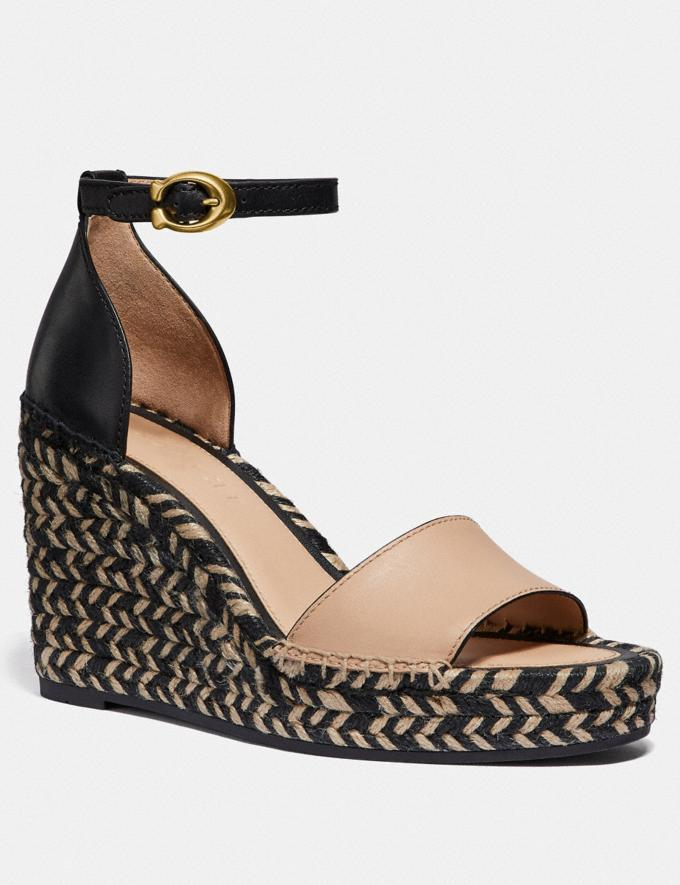 Coach Kit Wedge Espadrille Beechwood/Black Women Shoes Sandals
