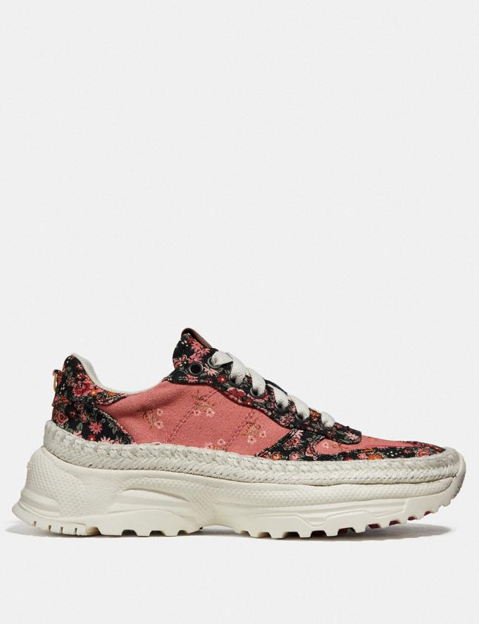 Coach C143 Espadrille Runner With Mix Posey Cluster Print Coral Multi/Black Multi SALE Women's Sale Shoes Alternate View 1