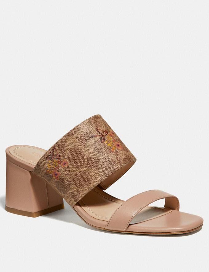 Coach Mae Mule With Floral Bow Print Tan/Pale Blush