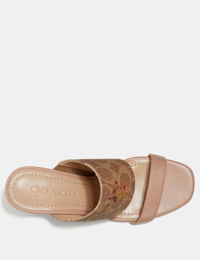 Coach Mae Mule With Floral Bow Print Tan/Pale Blush  Alternate View 2