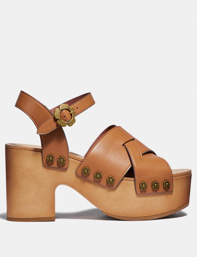 Coach Nessa Clog Sandal Camel Women Shoes Heels Alternate View 1
