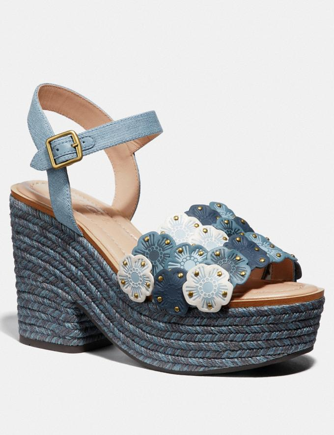Coach Jae Espadrille Sandal Denim Multi Women Shoes Heels