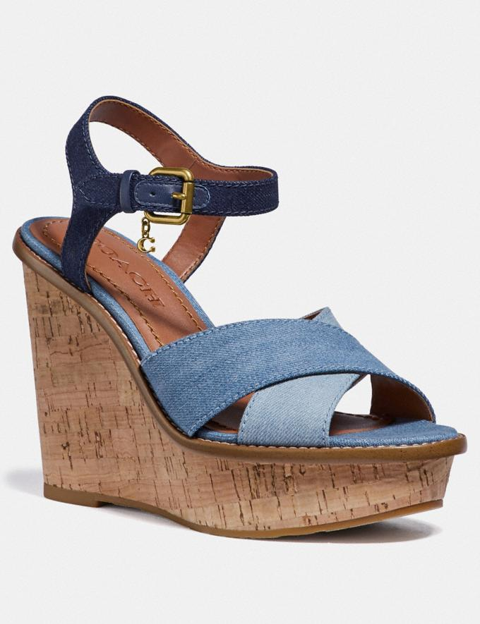 Coach Cross Band High Wedge Sandal Denim/Dark Denim New Women's New Arrivals Shoes