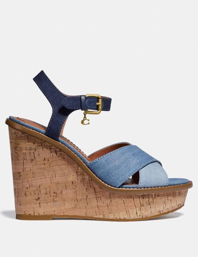 Coach Cross Band High Wedge Sandal Denim/Dark Denim New Women's New Arrivals Shoes Alternate View 1
