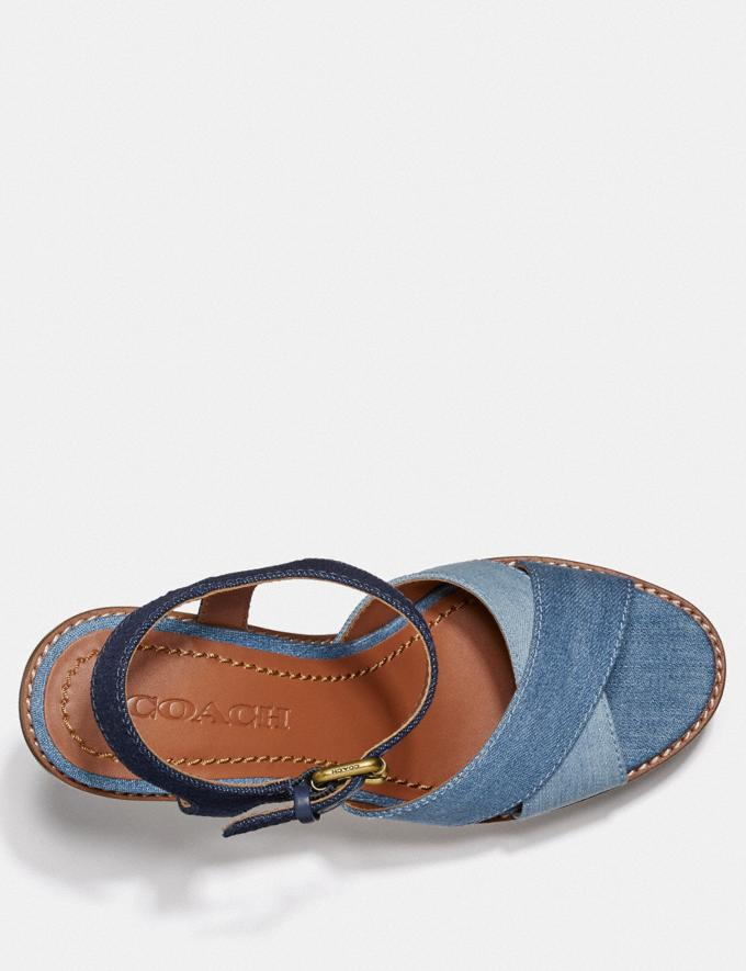 Coach Cross Band High Wedge Sandal Denim/Dark Denim New Women's New Arrivals Shoes Alternate View 2