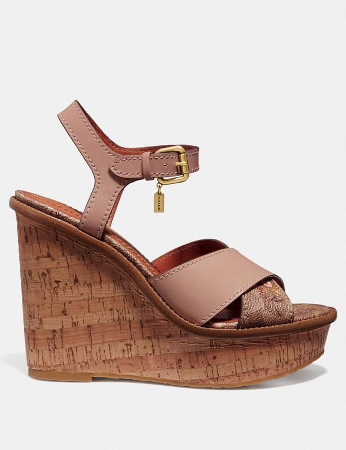 Coach Cross Band High Wedge Sandal Tan/Pale Blush New Women's New Arrivals Shoes Alternate View 1