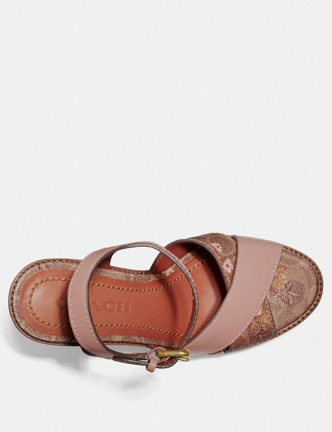 Coach Cross Band High Wedge Sandal Tan/Pale Blush New Women's New Arrivals Shoes Alternate View 2