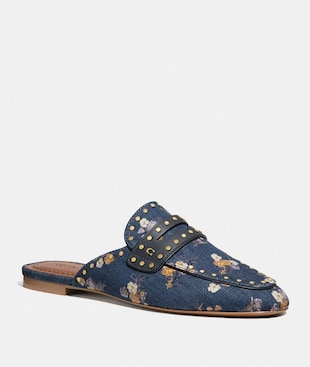 FAYE LOAFER SLIDE WITH PAINTED FLORAL BOW PRINT