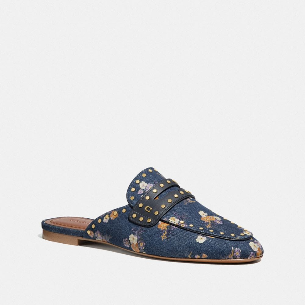 Coach Faye Loafer Slide With Painted Floral Bow Print