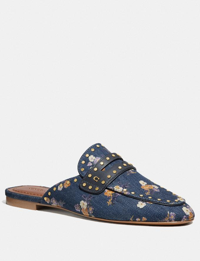 Coach Faye Loafer Slide With Painted Floral Bow Print Denim SALE Women's Sale Shoes