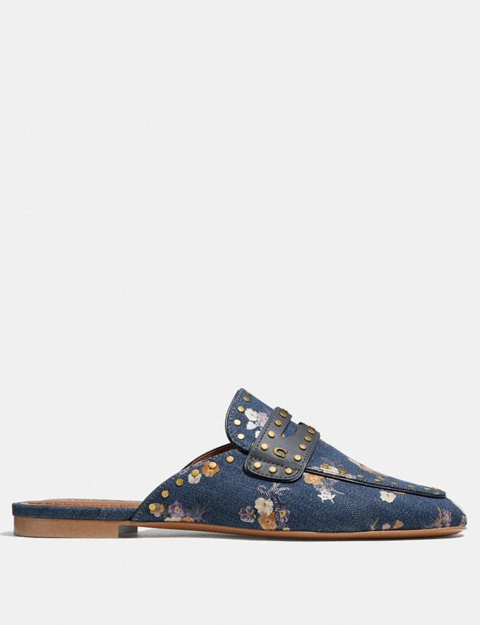 Coach Faye Loafer Slide With Painted Floral Bow Print Denim SALE Women's Sale Shoes Alternate View 1