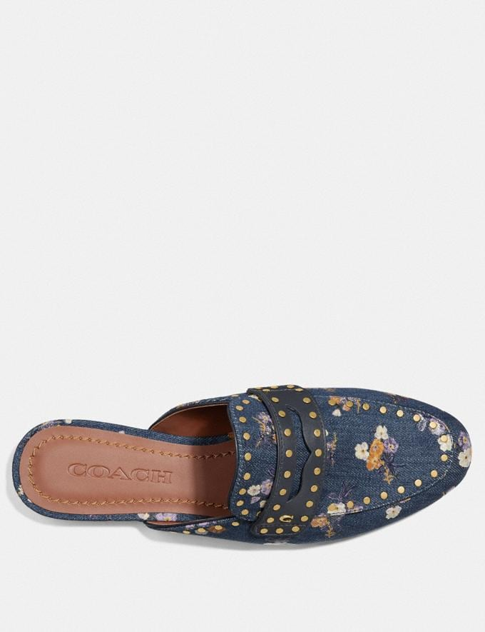 Coach Faye Loafer Slide With Painted Floral Bow Print Denim SALE Women's Sale Shoes Alternate View 2