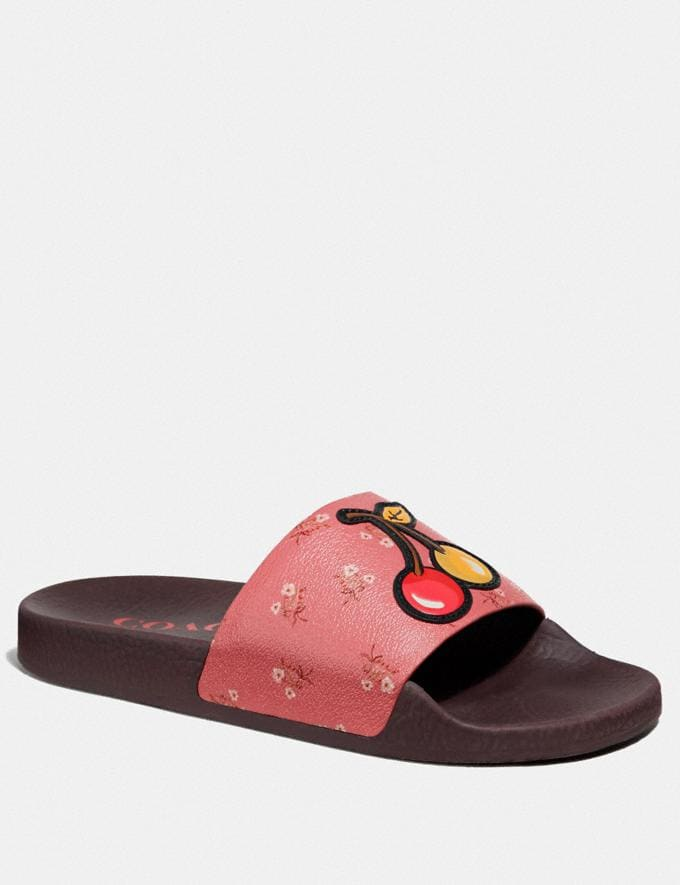 Coach Udele Sport Slide With Floral Bow Print Pink/Multi Women Shoes Sandals