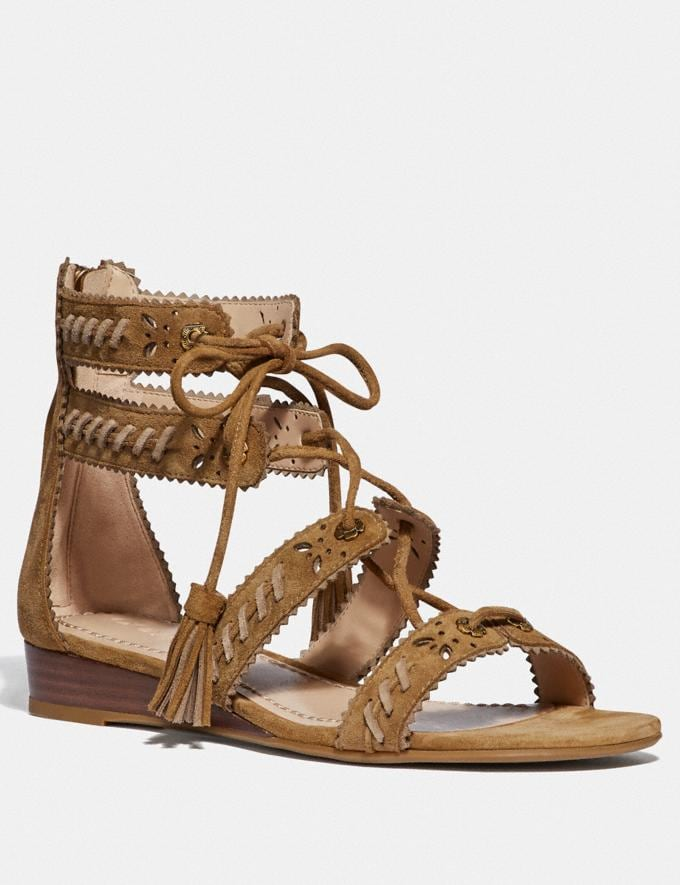Coach Via Demi Wedge Sandal Peanut/Oat Women Shoes Flats