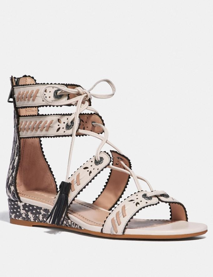 Coach Via Demi Wedge Sandal Chalk/Natural SALE Women's Sale Shoes