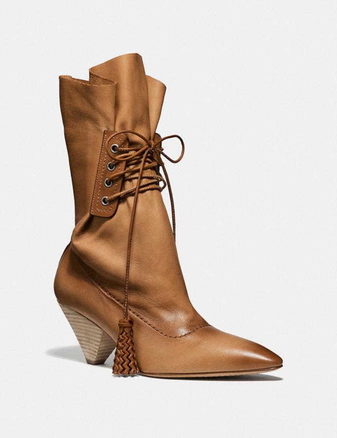 Coach Lace Up Tassle Boot Amber Women Shoes Boots