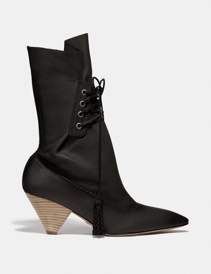 Coach Lace Up Tassle Boot Black SALE Women's Sale Alternate View 1