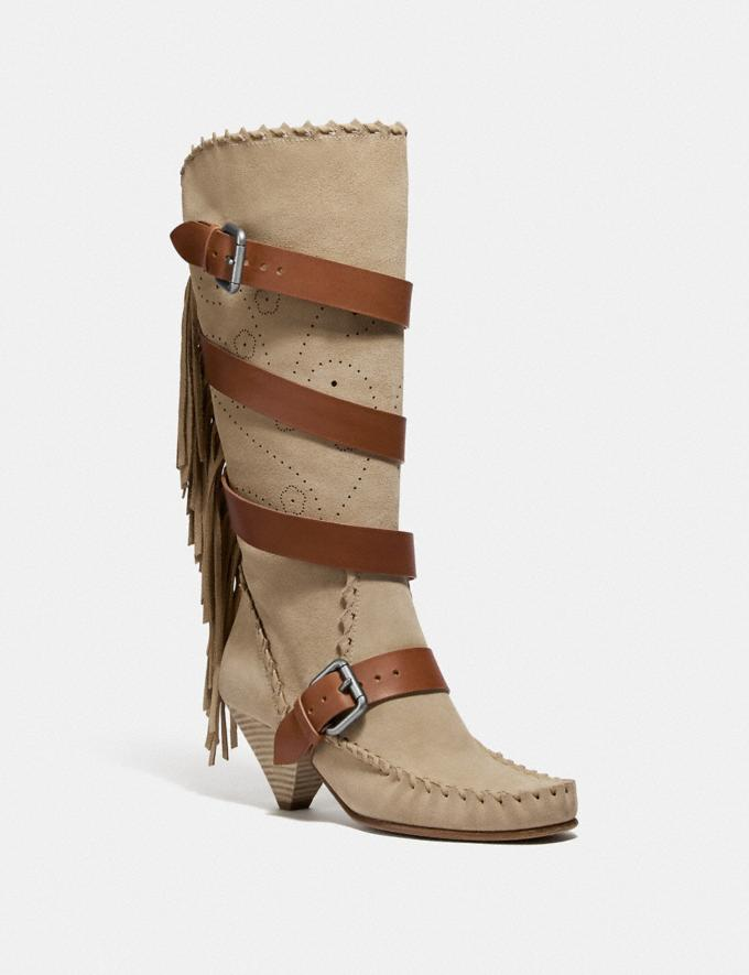 Coach Fringe Buckle Boot Light Tan SALE Women's Sale Shoes
