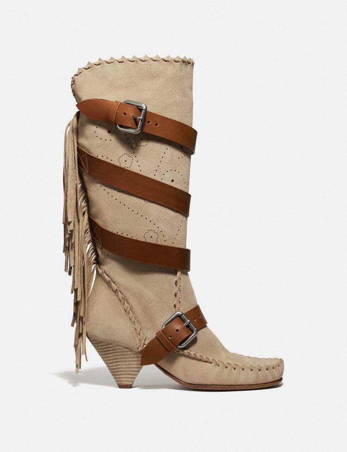 Coach Fringe Buckle Boot Light Tan SALE Women's Sale Shoes Alternate View 1