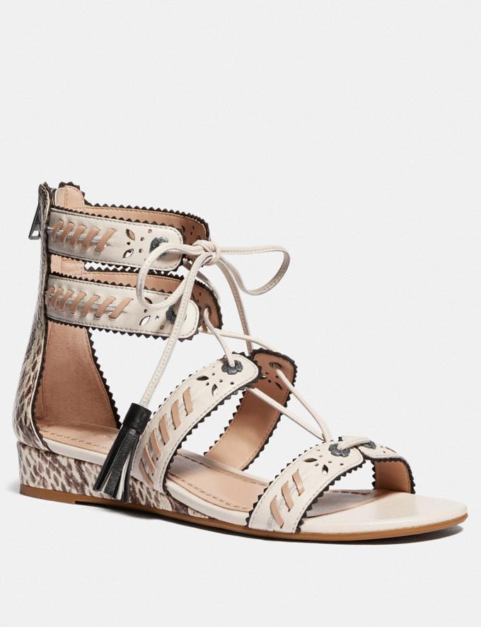 Coach Via Demi Wedge Sandal Chalk/Natural VIP SALE Women's Sale Shoes