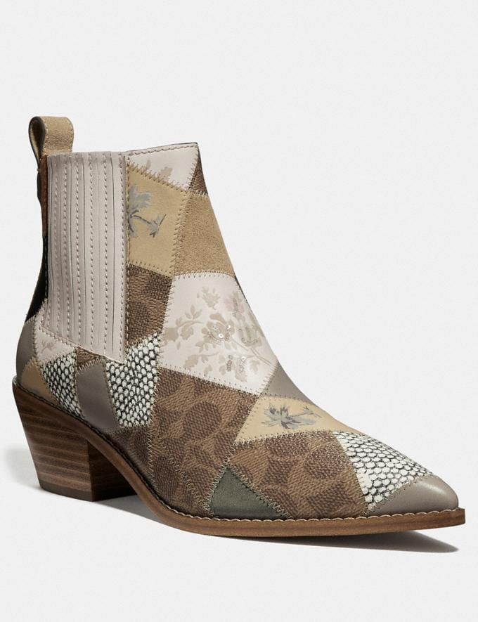 Coach Melody Bootie Tan Multi New Women's Trends Patchwork