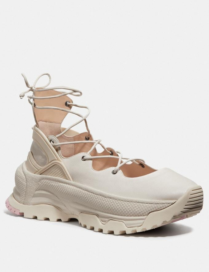 Coach Lace Up Ballerina Sneaker Chalk New Women's New Arrivals Shoes