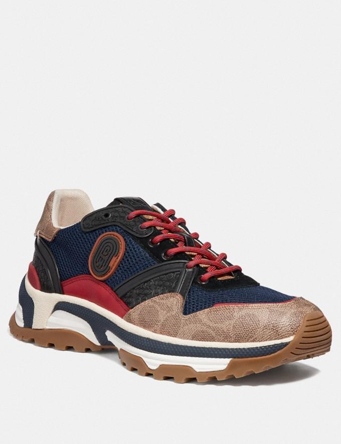 Coach C143 Runner With Coach Patch Blue/Multi Men Shoes Trainers
