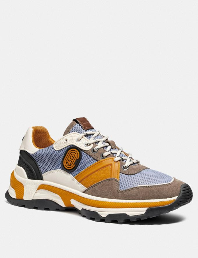 Coach C143 Runner in Colorblock Blue/Yellow Men Shoes Sneakers