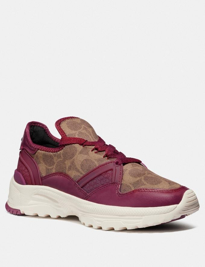 Coach C150 Runner Berry/Tan Women Shoes Trainers