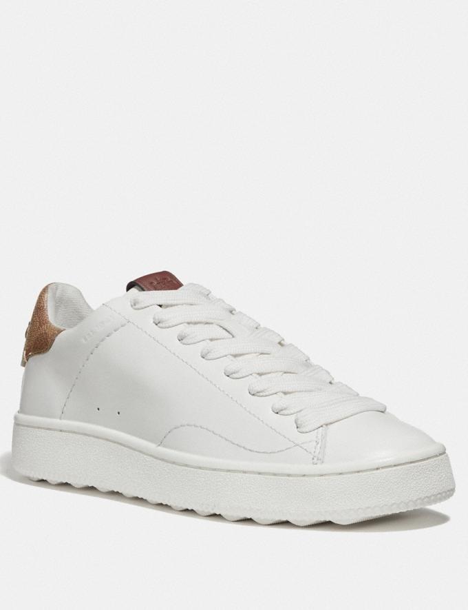 Coach C101 Low Top Sneaker White/Tan Women Shoes Trainers