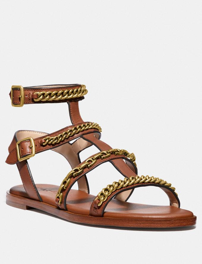 Coach Haddie Gladiator Sandal Black Women Shoes Flats