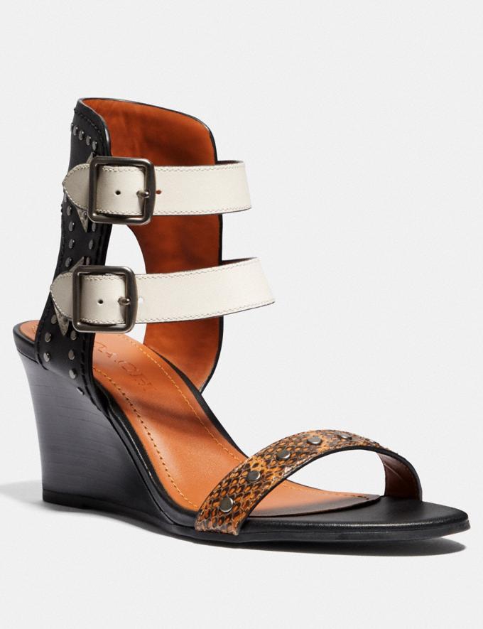 Coach Odessa Wedge With Snakeskin Detail Burnt Sienna/Black/Chalk SALE Women's Sale Shoes