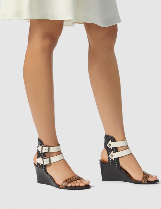 Coach Odessa Wedge With Snakeskin Detail Burnt Sienna/Black/Chalk SALE Women's Sale Shoes Alternate View 4