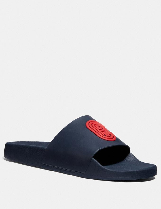 Coach Slide With Coach Patch Navy Men Shoes