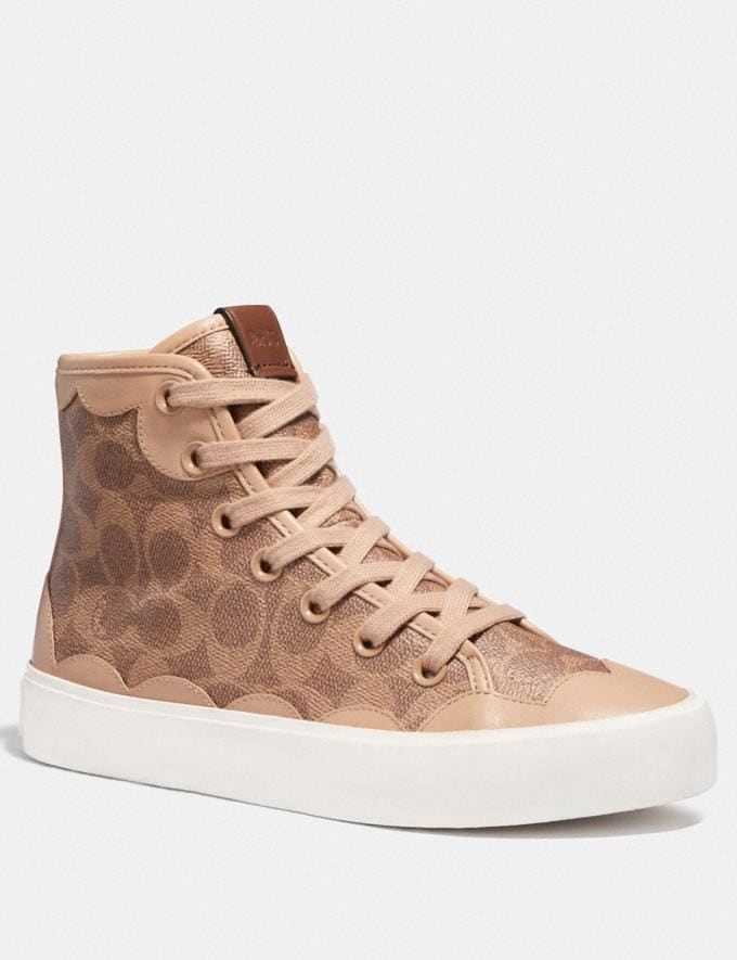 Coach C255 High Top Sneaker Beechwood/Tan Women Shoes Sneakers