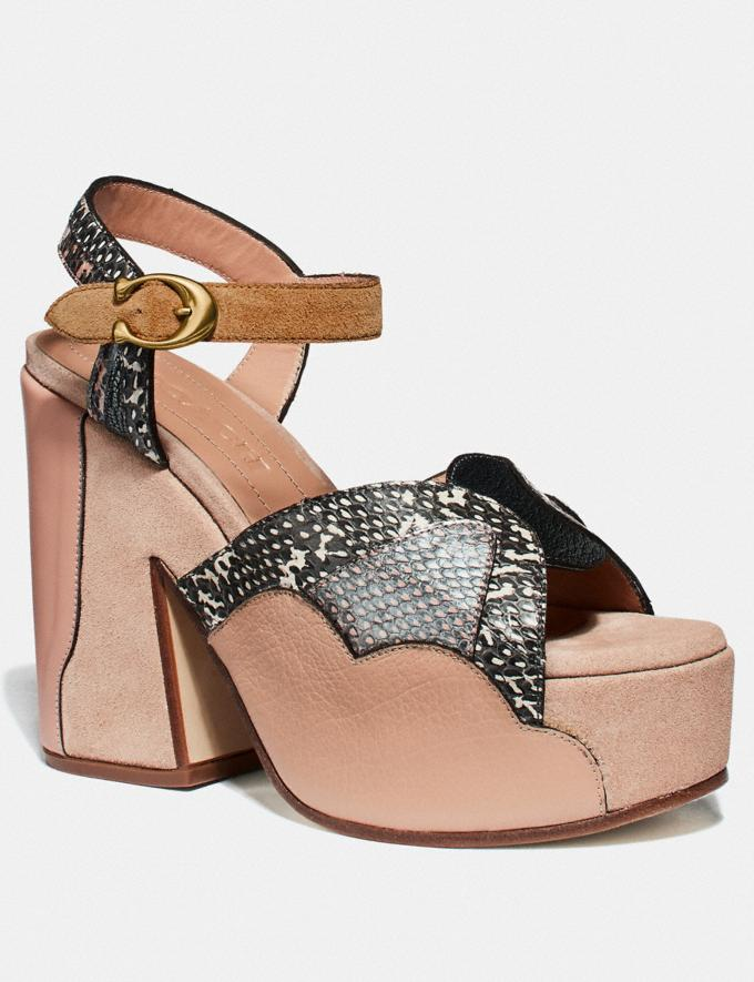 Coach Platform Sandal in Snakeskin Beechwood/Nude Pink/Chalk Women Shoes Sandals