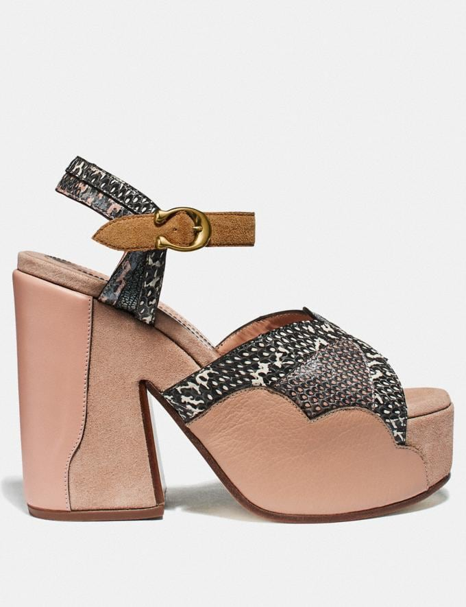 Coach Platform Sandal in Snakeskin Beechwood/Nude Pink/Chalk  Alternate View 1