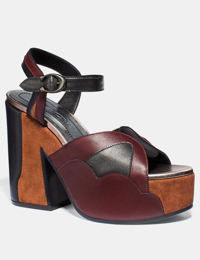 Coach Platform Sandal Mahogany/Biscotti/Black Women Shoes Heels