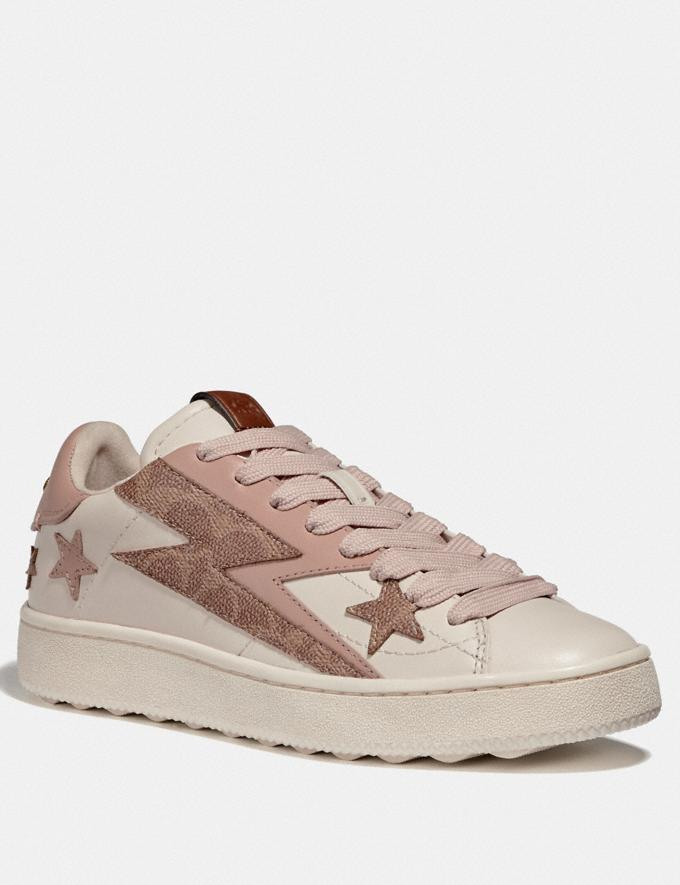 Coach C101 Low Top Sneaker With Glam Rock Chalk/Pale Blush Women Shoes Trainers