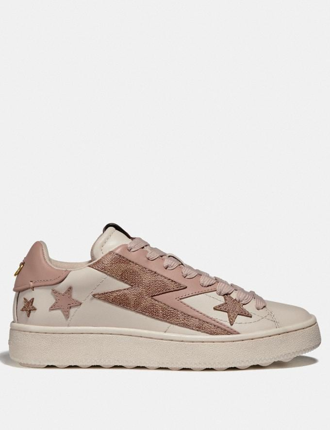 Coach C101 Low Top Sneaker With Glam Rock Chalk/Pale Blush Women Shoes Trainers Alternate View 1