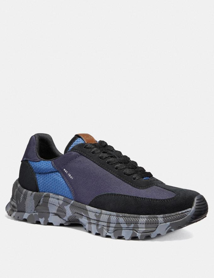 Coach C155 Paneled Runner With Wild Beast Print Blue Camo Men Shoes Sneakers