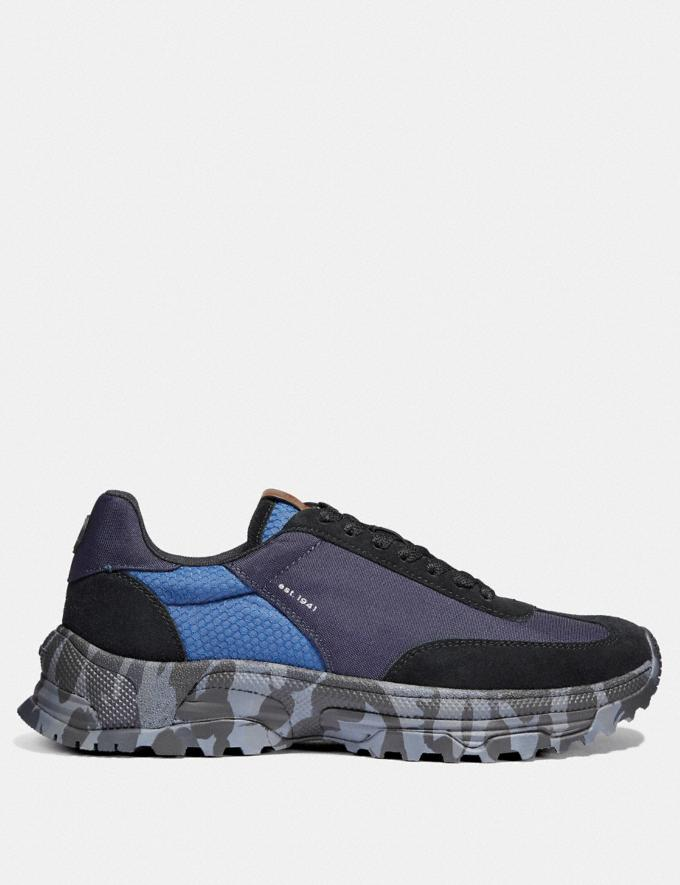 Coach C155 Paneled Runner With Wild Beast Print Blue Camo Men Shoes Sneakers Alternate View 1