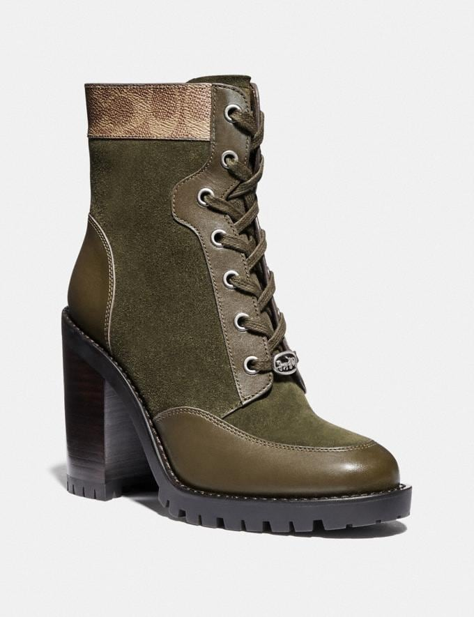 Coach Hedy Bootie Army Green/Tan Women Shoes Boots & Booties