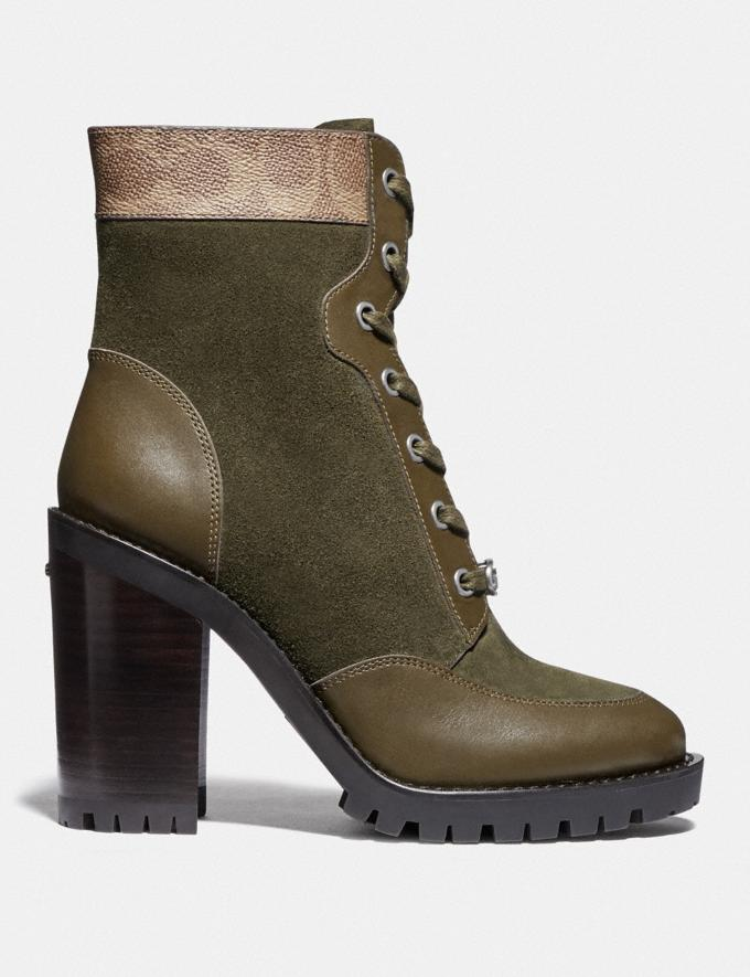 Coach Hedy Bootie Army Green/Tan Women Shoes Boots & Booties Alternate View 1