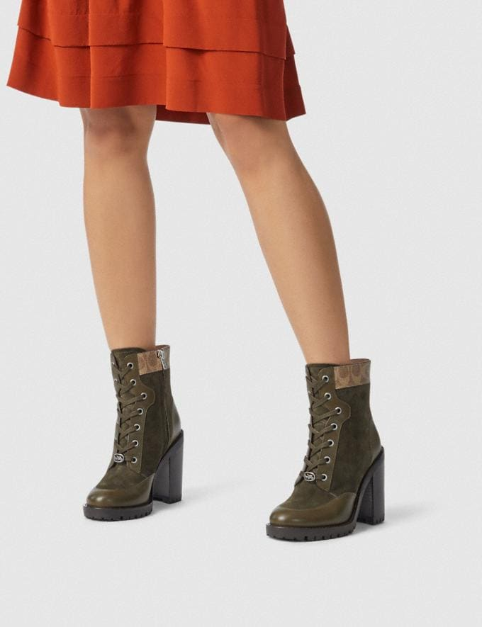Coach Hedy Bootie Army Green/Tan  Alternate View 4