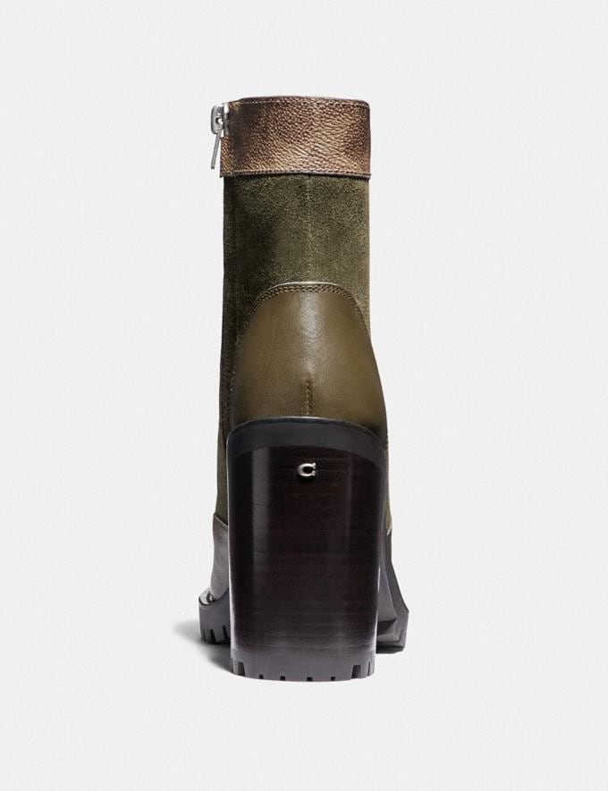 Coach Hedy Bootie Army Green/Tan New Women's New Arrivals Shoes Alternate View 3
