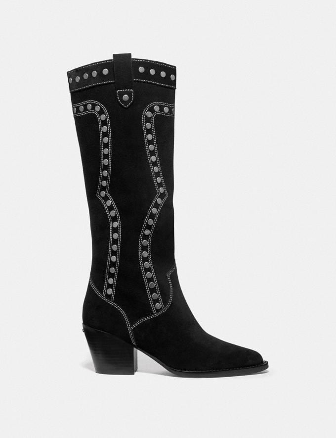 Coach Payton Western Boot Black Women Shoes Boots & Booties Alternate View 1