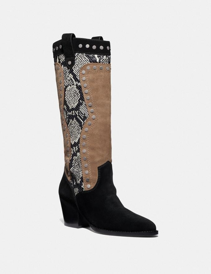Coach Payton Western Boot Black/Mushroom Women Edits