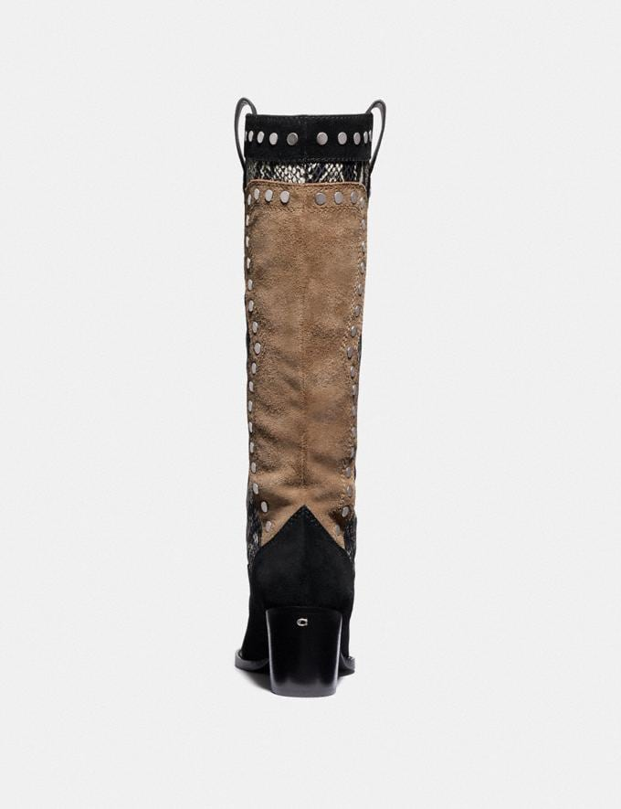 Coach Payton Western Boot Black/Mushroom Women Edits Alternate View 2